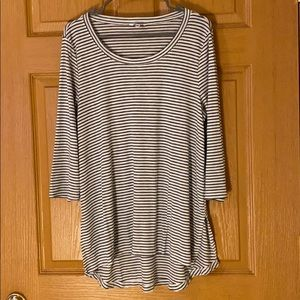 3/4 sleeve tunic striped shirt